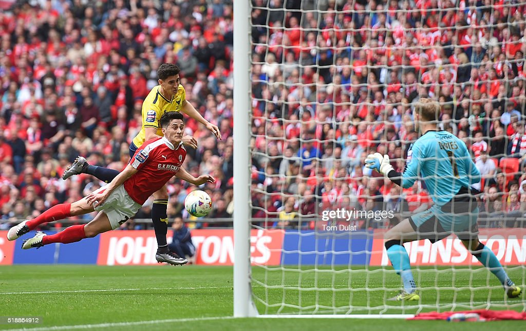 Callum O'Dowda of Oxford United scores the opening goal during the Johnstone's Paint Trophy Final match between Oxford United and Barnsley at Wembley Stadium on April 3, 2016 in London, England. (Photo by Tom Dulat/Getty Images).