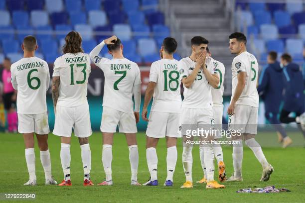 Callum O'Dowda of Republic of Ireland reacts following their defeat in the penalty shoot out during the UEFA EURO 2020 PlayOff SemiFinal match...