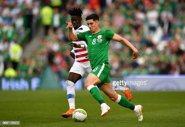 Callum O'Dowda of the Republic of Ireland holds off Tim Weah of The United States during the International Friendly match between the Republic of...