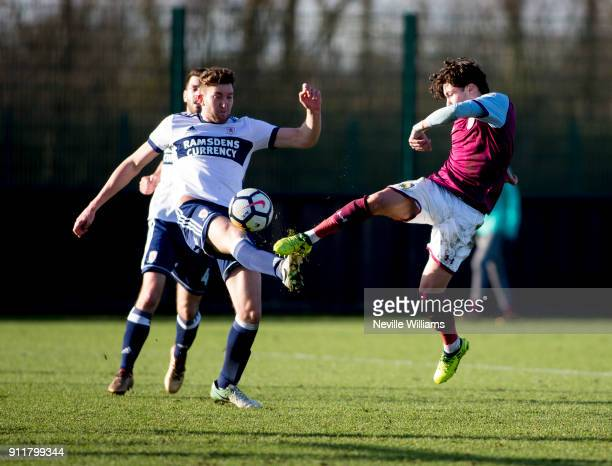 Callum O'Hare of Aston Villa during the Premier League 2 match between Aston Villa and Middlesbrough at Bodymoor Heath on January 29, 2018 in...
