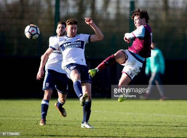 Callum O'Hare of Aston Villa during the Premier League 2 match between Aston Villa and Middlesbrough at Bodymoor Heath on January 29 2018 in...