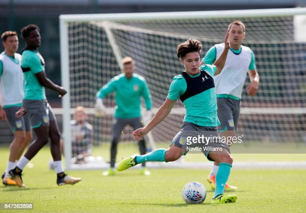 Callum O'Hare of Aston Villa in action during a training session at the club's training ground at Bodymoor Heath on September 15 2017 in Birmingham...