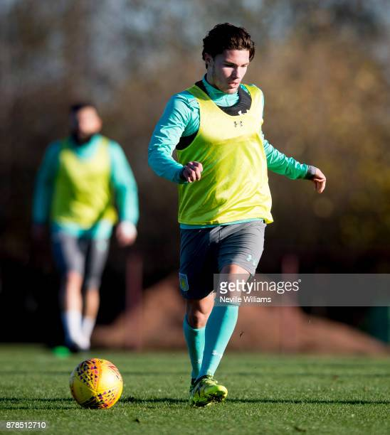 Callum O'Hare of Aston Villa in action during a training session at the club's training ground at Bodymoor Heath on November 24 2017 in Birmingham...