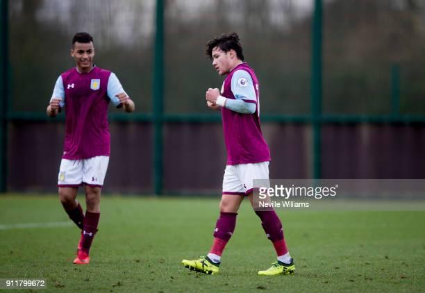 Callum O'Hare of Aston Villa scores for Aston Villa during the Premier League 2 match between Aston Villa and Middlesbrough at Bodymoor Heath on...