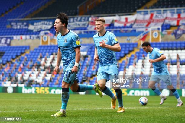 Callum O'Hare of Coventry City celebrates after scoring their team's fourth goal during the Sky Bet Championship match between Coventry City and...