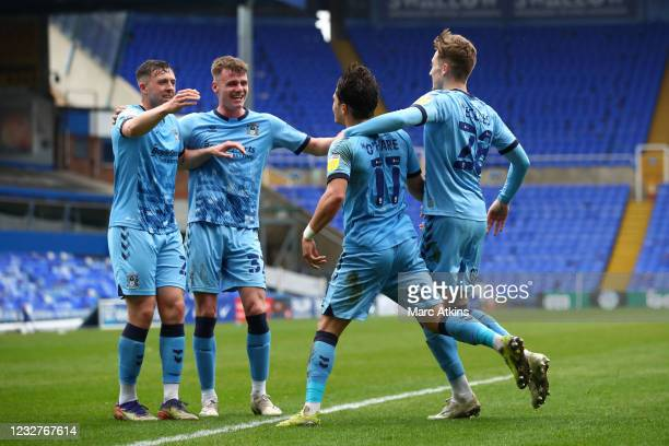 Callum O'Hare of Coventry City celebrates scoring his goal with Jack Burrows, Jordan Shipley and Josh Eccles during the Sky Bet Championship match...