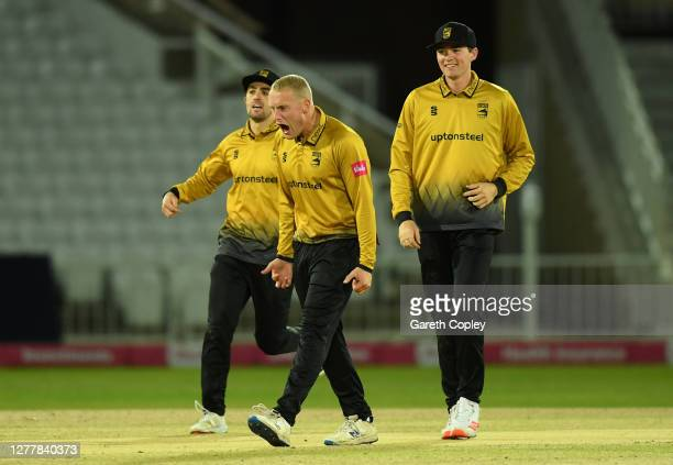 Callum Parkinson of Leicestershire celebrates bowling Alex Hales of Nottinghamshire during T20 Vitality Blast 2020 Quarter Final between Notts...