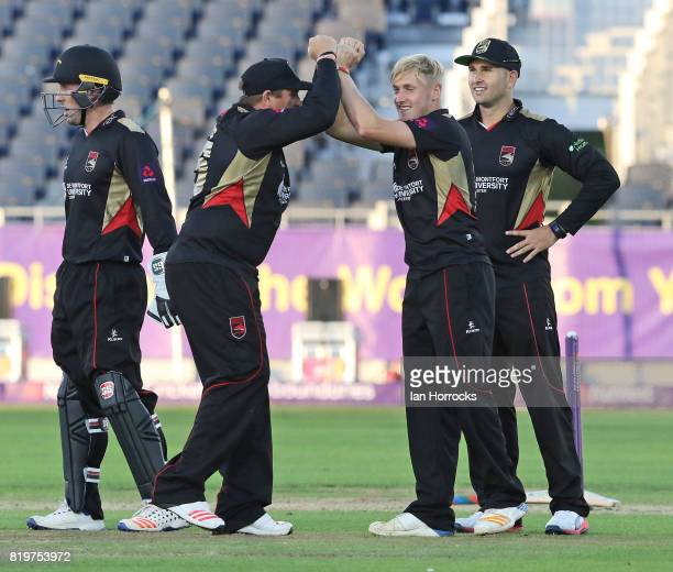 Callum Parkinson of Leicestershire celebrates taking the wicket of Arshad during the NatWest T20 Blast match between Durham Jets and Leicestershire...