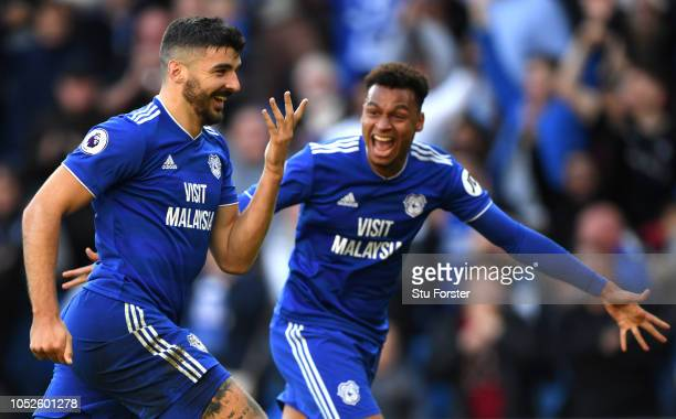 Callum Paterson of Cardiff City celebrates after scoring his team's third goal during the Premier League match between Cardiff City and Fulham FC at...