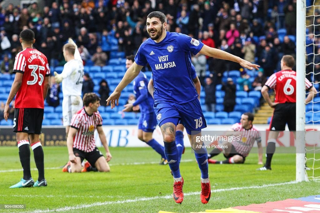 Callum Paterson of Cardiff City celebrates scoring his sides first goal of the match during the Sky Bet Championship match between Cardiff City and Sunderland at the Cardiff City Stadium on January 13, 2018 in Cardiff, Wales.