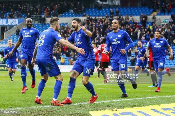 Callum Paterson of Cardiff City celebrates scoring his sides first goal of the match during the Sky Bet Championship match between Cardiff City and...