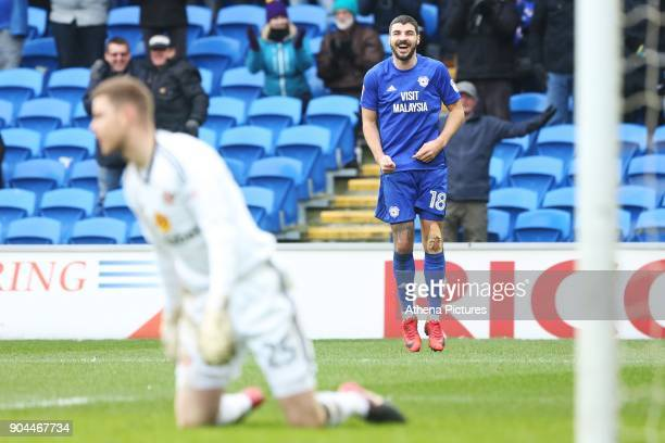 Callum Paterson of Cardiff City celebrates scoring his sides third goal of the match during the Sky Bet Championship match between Cardiff City and...