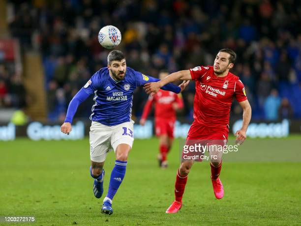 Callum Paterson of Cardiff City FC and Yuri Ribeiro of Nottingham Forest during the Sky Bet Championship match between Cardiff City and Nottingham...