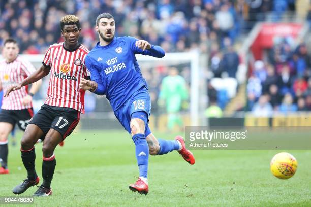 Callum Paterson of Cardiff City is marked by Didier N'Dong of Sunderland during the Sky Bet Championship match between Cardiff City and Sunderland at...
