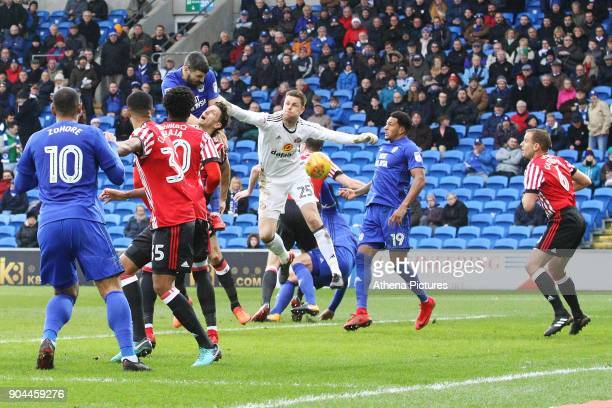 Callum Paterson of Cardiff City scores his sides first goal of the match during the Sky Bet Championship match between Cardiff City and Sunderland at...