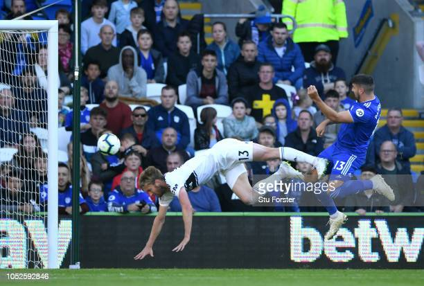 Callum Paterson of Cardiff City shoots during the Premier League match between Cardiff City and Fulham FC at Cardiff City Stadium on October 20 2018...