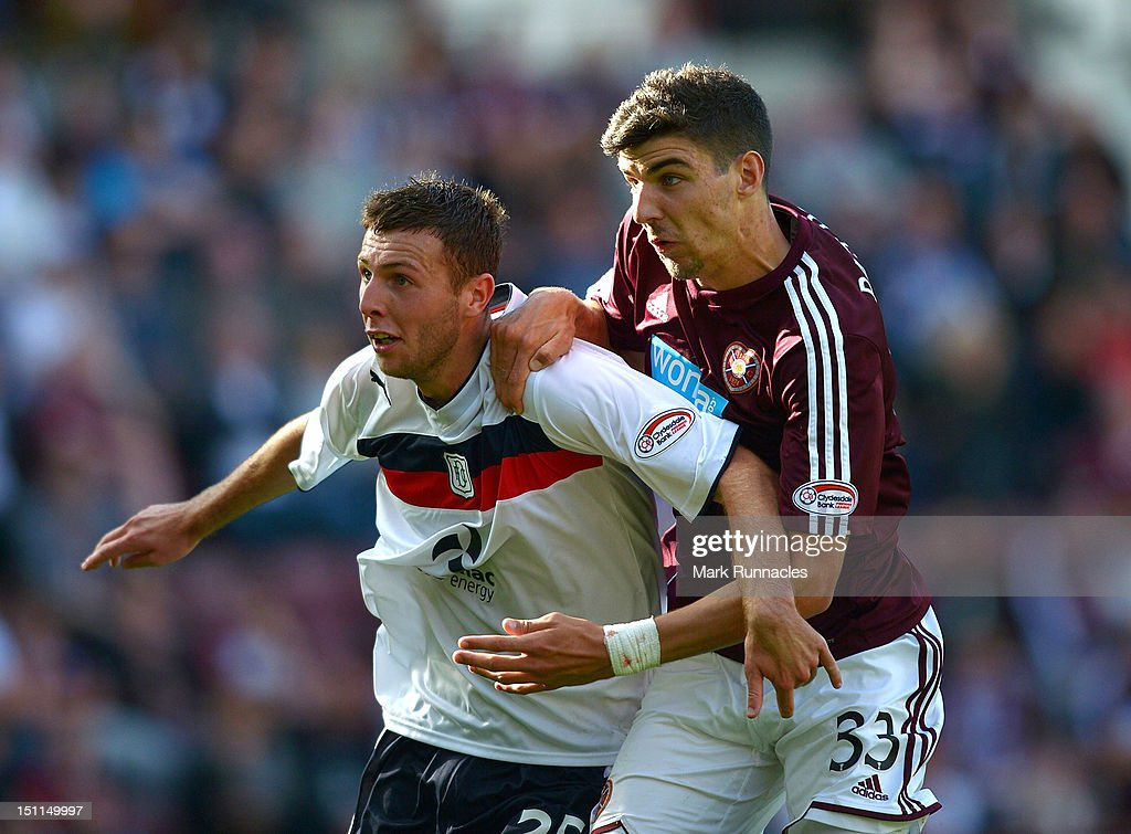 Callum Paterson of Hearts vies with Lewis Toshney of Dundee during the Clydesdale Bank Scottish Premier League match between Hearts and Dundee at Tyncastle Stadium on September 2, 2012 in Edinburgh, Scotland.