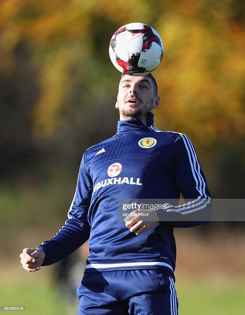 Callum Paterson of Scotland controls the ball during a Scotland training session at Mar Hall on November 7, 2016 in Glasgow, Scotland. Scotland are due to face England in a World Cup qualifier on November 11th at Wembley.