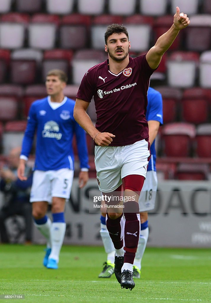 Callum Patterson of Hearts celebrates scoring the opening goal of the game during a pre season friendly match between Heart of Midlothian and Everton FC at Tynecastle Stadium on July 26, 2015 in Edinburgh, Scotland.