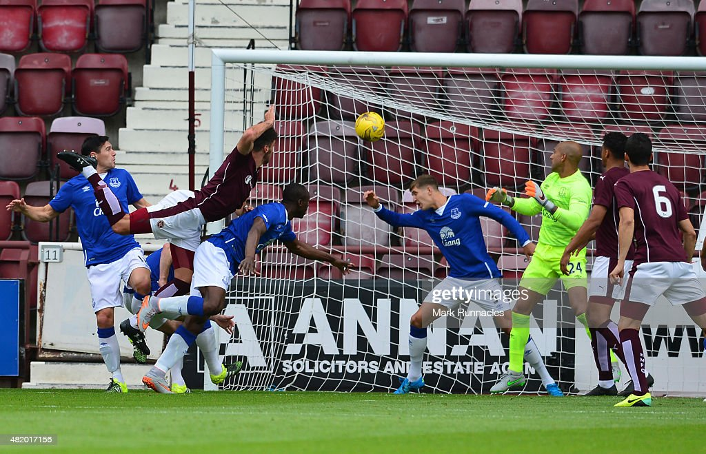 Callum Patterson of Hearts scoring the opening goal of the game during a pre season friendly match between Heart of Midlothian and Everton FC at Tynecastle Stadium on July 26, 2015 in Edinburgh, Scotland.