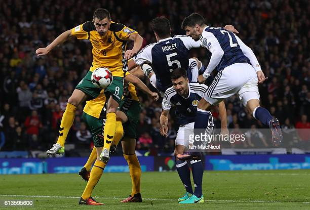 Callum Patterson of Scotland heads at goal during the FIFA 2018 World Cup Qualifier between Scotland and Lithuania at Hampden Park on October 8 2016...