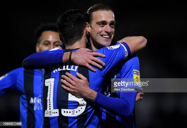 Callum Reilly of Gillingham celebrates scoring his sides second goal with Tom Eaves of Gillingham during the Sky Bet League One match between Bristol...