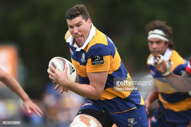 Callum Retallick of Bay of Plenty makes a break during the round six Mitre 10 Cup match between Bay of Plenty and Counties Manukau Tauranga Domain on...