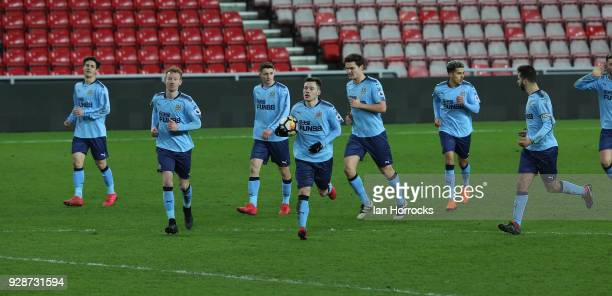 Callum Roberts of Newcastle celebrates his late equaliser during the Premier League International Cup match between Sunderland U23 and Newcastle...
