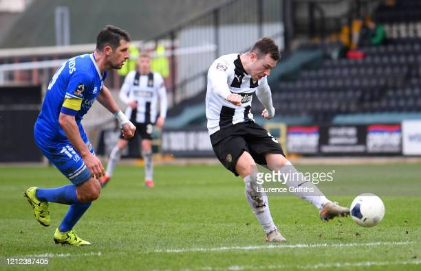 Callum Roberts of Notts County scores his team's fourth goal during the Vanarama National League match between Notts County and Eastleigh at Meadow...