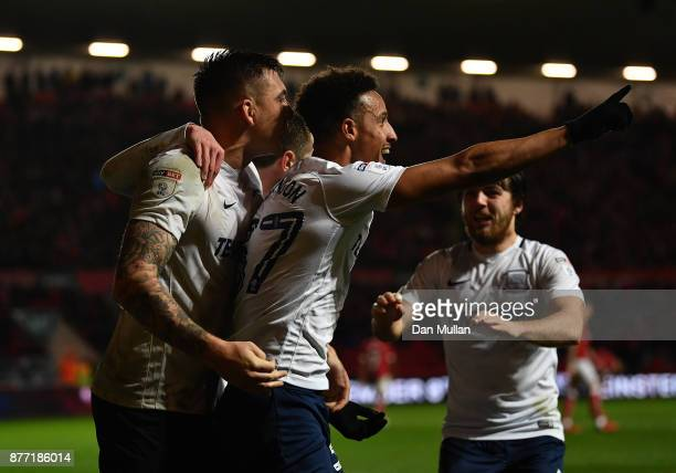 Callum Robinson of Preston North End celebrates scoring his side's second goal during the Sky Bet Championship match between Bristol City and Preston...
