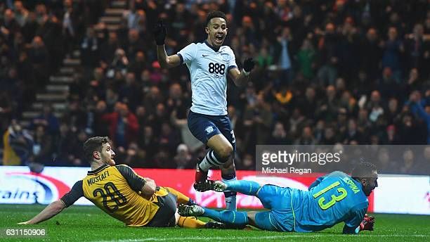Callum Robinson of Preston North End celebrates scoring the opening goal during the Emirates FA Cup Third Round match between Preston North End and...