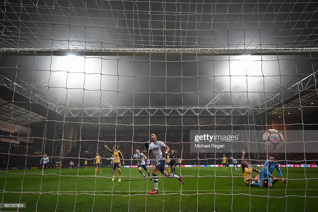 Callum Robinson of Preston North End celebrates scoring the opening goal during the Emirates FA Cup Third Round match between Preston North End and Arsenal at Deepdale on January 7, 2017 in Preston, England.