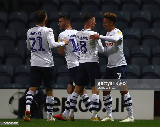Callum Robinson of Preston North End is congratulated on his goal during the Carabao Cup Third Round match between Preston North End and...