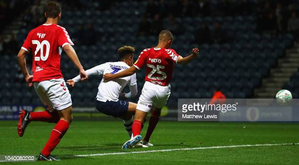 Callum Robinson of Preston North End scores a goal during the Carabao Cup Third Round match between Preston North End and Middlesbrough at Deepdale...