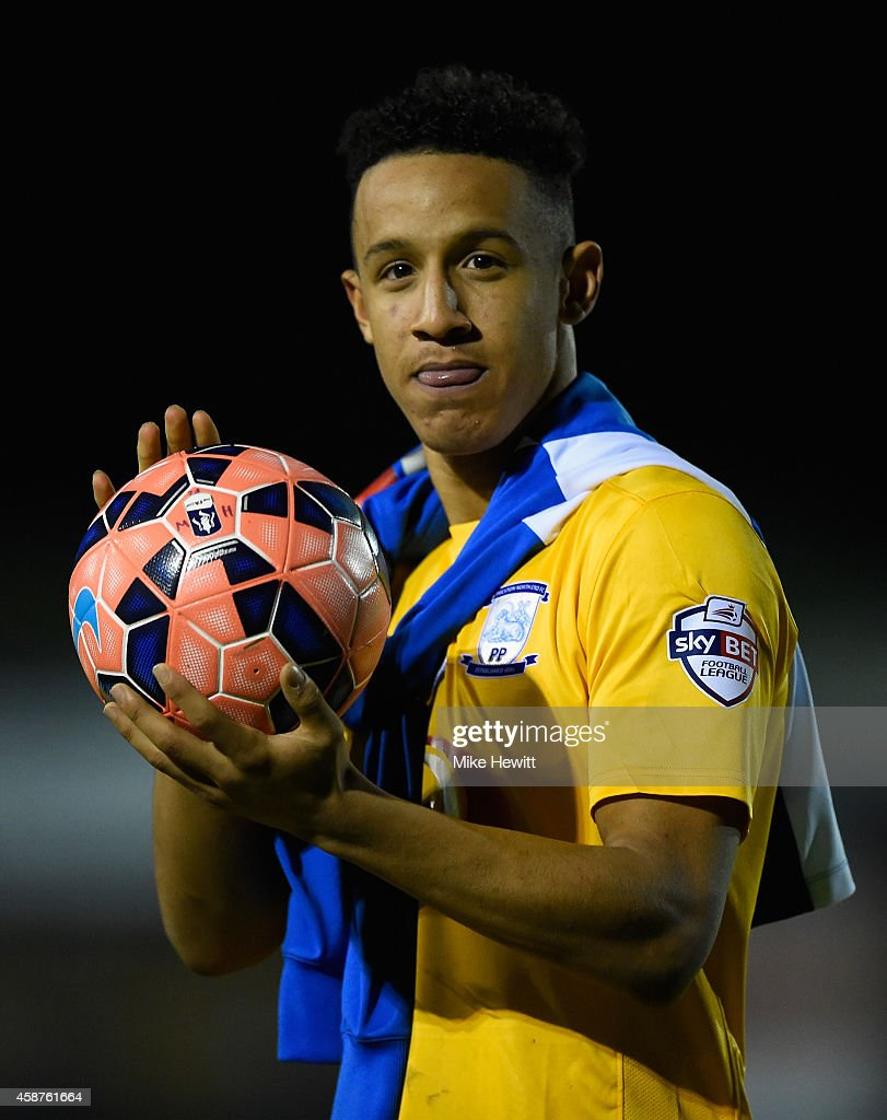 Callum Robinson of Preston walks off with the match ball after scoring a hat trick during the FA Cup First Round match between Havant & Waterlooville FC and Preston North End on November 10, 2014 in Havant, England.