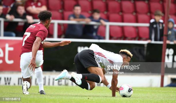 Callum Robinson of Sheffield United is fouled by Remeao Hutton of Northampton Town for Sheffield United's first penalty during the PreSeason Friendly...