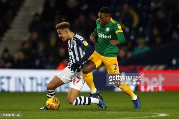 Callum Robinson of West Bromwich Albion and Darnell Fisher of Preston North End during the Sky Bet Championship match between West Bromwich Albion...