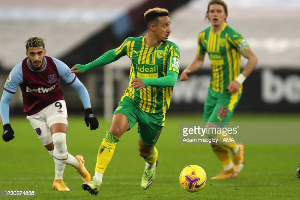 Callum Robinson of West Bromwich Albion and Said Benrahma of West Ham United during the Premier League match between West Ham United and West...