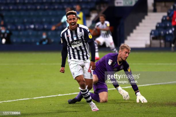 Callum Robinson of West Bromwich Albion celebrates after scoring a goal to make it 21 during the Sky Bet Championship match between West Bromwich...