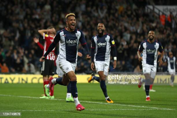 Callum Robinson of West Bromwich Albion celebrates after scoring a goal to make it 4-0 during the Sky Bet Championship match between West Bromwich...