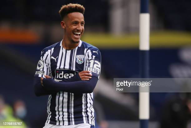 Callum Robinson of West Bromwich Albion celebrates after scoring his sides first goal during the Premier League match between West Bromwich Albion...