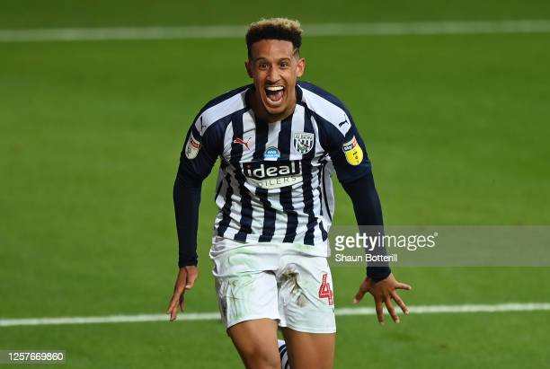 Callum Robinson of West Bromwich Albion celebrates after scoring the second goal during the Sky Bet Championship match between West Bromwich Albion...