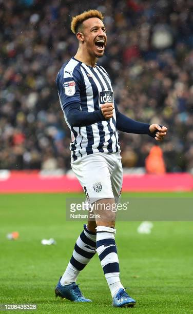 Callum Robinson of West Bromwich Albion celebrates following his team's second goal during the Sky Bet Championship match between West Bromwich...
