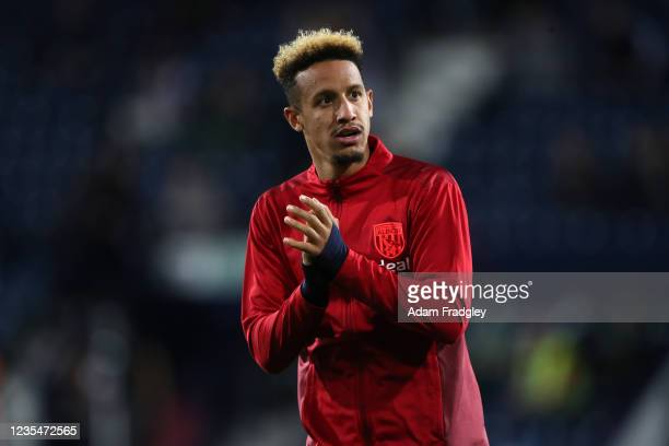 Callum Robinson of West Bromwich Albion during the pre-match warm up ahead of the Sky Bet Championship match between West Bromwich Albion and Queens...