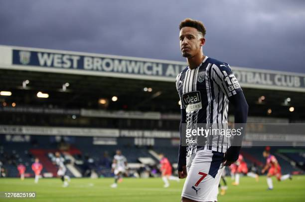 Callum Robinson of West Bromwich Albion looks on during the Premier League match between West Bromwich Albion and Chelsea at The Hawthorns on...