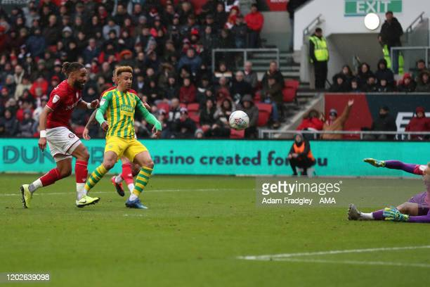Callum Robinson of West Bromwich Albion scores a goal to make it 01 during the Sky Bet Championship match between Bristol City and West Bromwich...