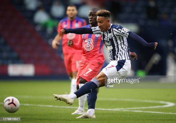 Callum Robinson of West Bromwich Albion scores his sides first goal during the Premier League match between West Bromwich Albion and Chelsea at The...