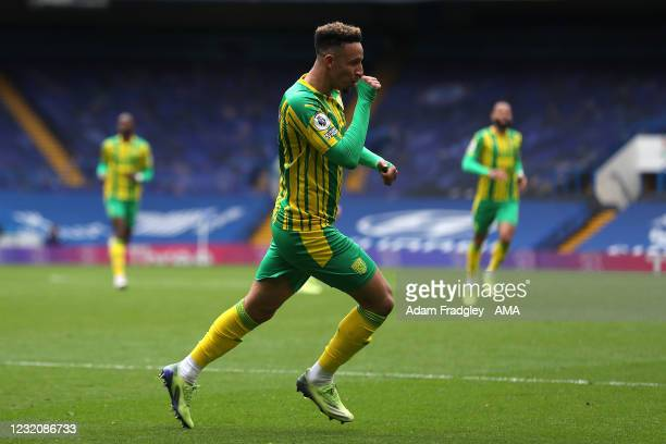 Callum Robinson of West Bromwich Albion sucks his thumb as he celebrates after he scores a goal to make it 1-3 during the Premier League match...