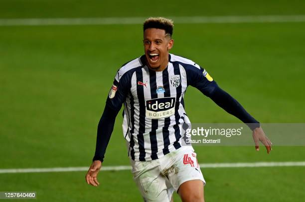 Callum Robinson of West Bromwich celebrates after he scores the 2nd goal during the Sky Bet Championship match between West Bromwich Albion and...