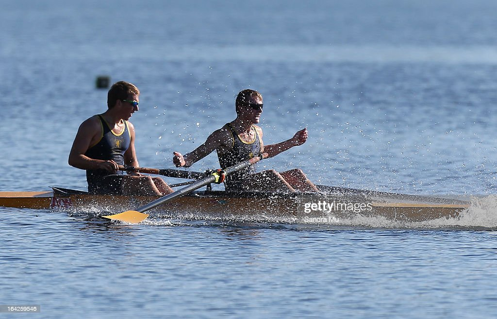 Callum Ross (L) and Josh Little of Auckland Grammar celebrate winning the boys U18 coxless pair final during day five of the Maadi Cup at Lake Karapiro on March 22, 2013 in Cambridge, New Zealand.